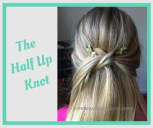 Half up knot with bobbies
